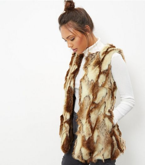 Blue Vanilla Light Brown Jacquard Faux Fur Gilet | New Look