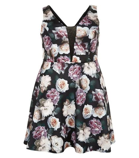 Curves Black Floral Print Skater Dress | New Look