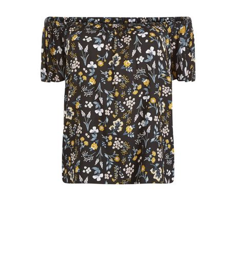 Curves Black and Yelloe Floral Print Bardot Neck Top | New Look