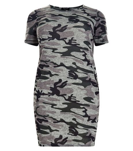 Curves Green Camo Print Tunic Dress | New Look