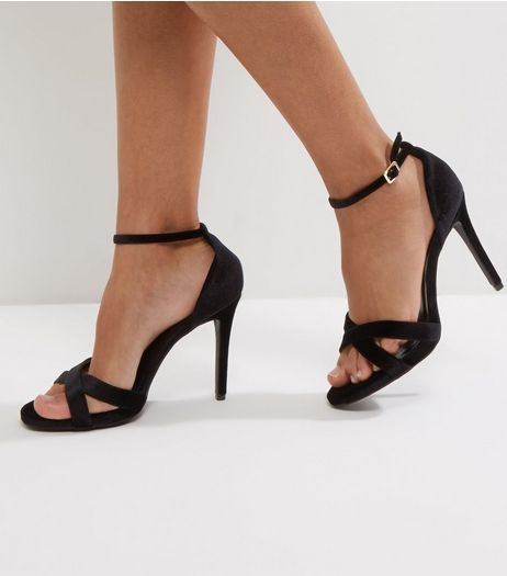 Wide Fit Black Velvet Cross Strap Heeled Sandals  | New Look
