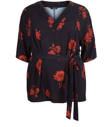 Curves Black Floral Print Belted Top | New Look