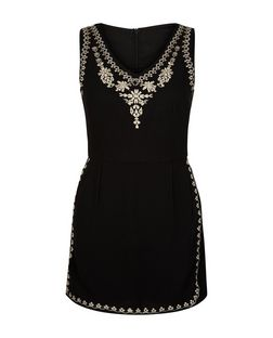 Blue Vanilla Black V Neck Embroidered Playsuit | New Look