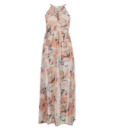 Blue Vanilla Pink Floral Print Chiffon Maxi Dress | New Look