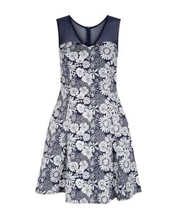 Blue Vanilla Blue Floral Print Mesh Dress | New Look