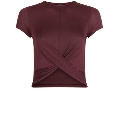 Teens Burgundy Twist Front T-Shirt | New Look