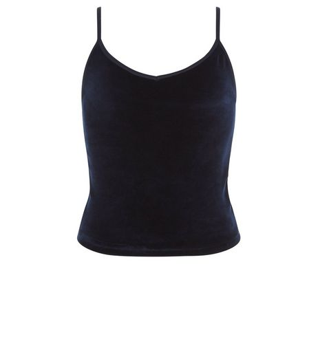 Teens Navy Velour V Neck Cami | New Look