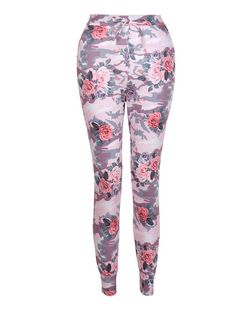 Cameo Rose Pink Floral Camo Print Joggers  | New Look