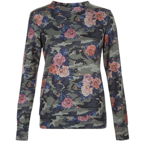 Cameo Rose Green Floral Camo Print Top | New Look