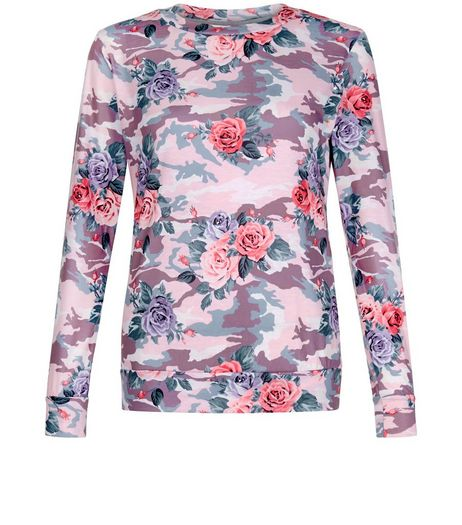 Cameo Rose Pink Floral Camo Print Top  | New Look
