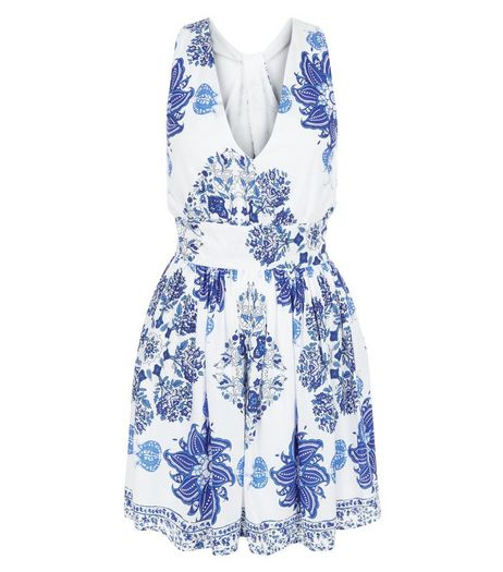 Parisian White Floral Print Cross Back Dress | New Look