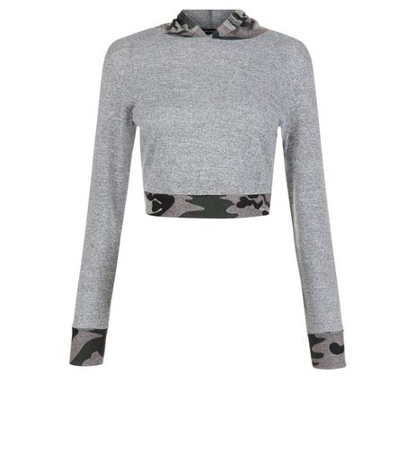Green Camo Print Trim Hooded Crop Top | New Look