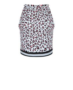 Teens White Leopard Print Contrast Trim Top | New Look