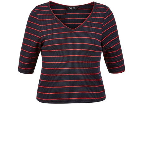 Teens Blue Stripe V Neck Top | New Look