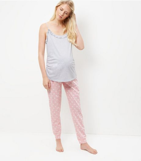 Maternity Pink Heart Print Under Bump Pyjama Set | New Look