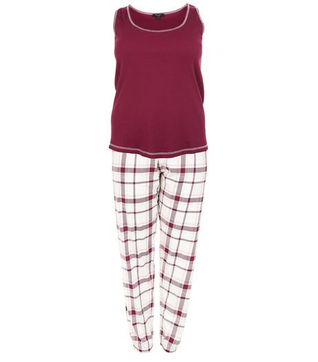 Curves Plum Check Pyjama Set | New Look