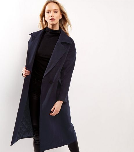 Anita and Green Navy Maxi Coat  | New Look