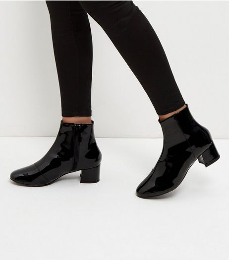 Wide Fit Black Patent Block Heels | New Look