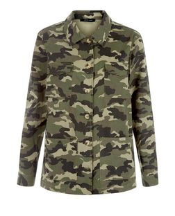 Khaki Camo Print Shacket  | New Look
