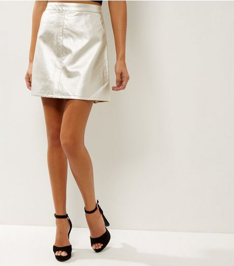 Anita and Green Gold Metallic Leather-Look Skirt  | New Look