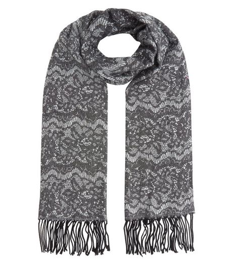 Dark Grey Lace Print Fringed Scarf | New Look