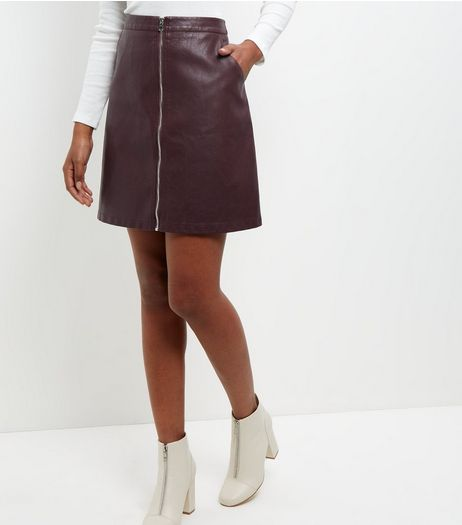 Anita and Green Burgundy Leather-Look Zip Front Skirt  | New Look