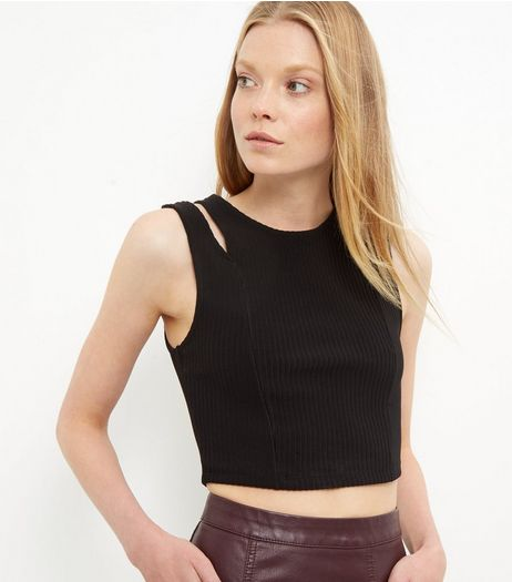 Black Ribbed Cut Out Shoulder Crop Top | New Look