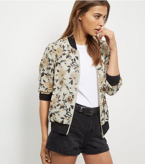 Cream Crepe Floral Print Bomber Jacket  | New Look