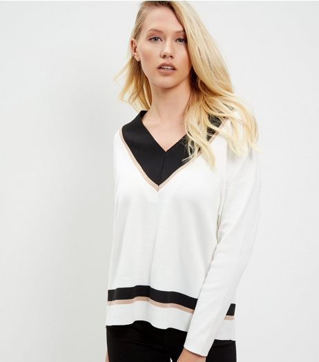 White Contrast V Neck Jumper  | New Look