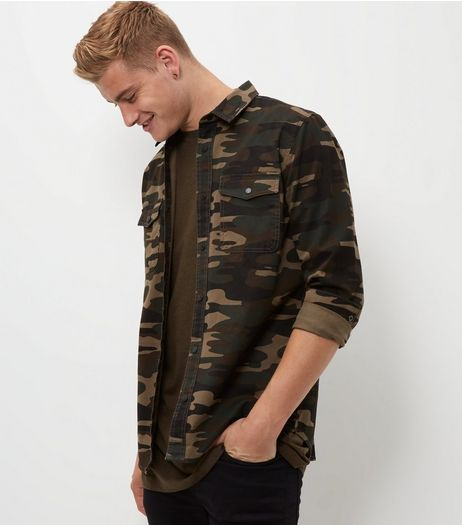 Green Camo Print Shacket  | New Look