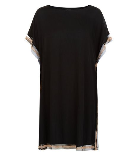 Black Contrast Embellished Trim Kaftan | New Look
