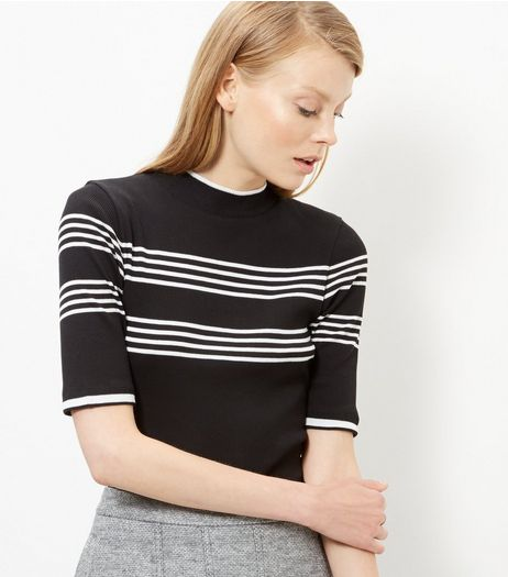 Black Stripe Funnel Neck 1/2 Sleeve Top  | New Look
