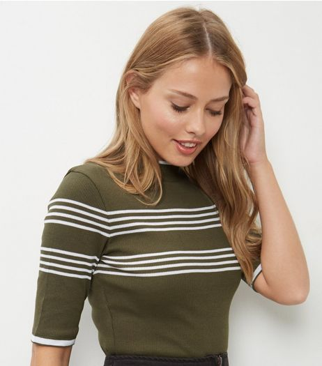 Olive Green Ribbed Stripe Funnel Neck 1/2 Sleeve Top  | New Look