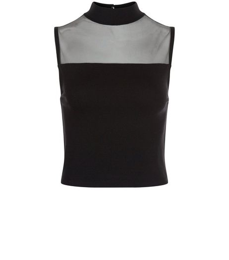 Black Mesh Panle Funnel Neck Crop Top  | New Look