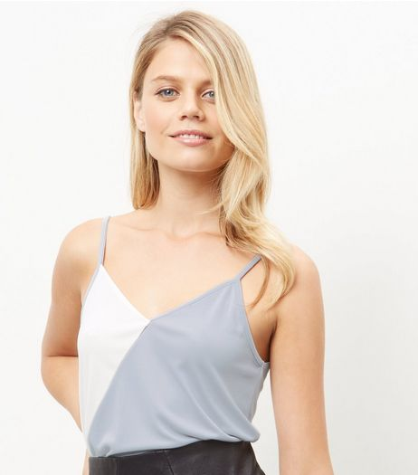 Cream Colour Block Asymmetric Cami  | New Look