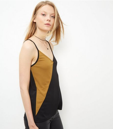 Green Colour Block Asymmetric Cami  | New Look