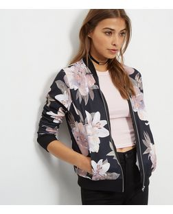 Black Oversized Floral Print Bomber Jacket | New Look