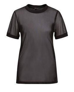 Black Mesh Ribbed Neckline T-Shirt | New Look