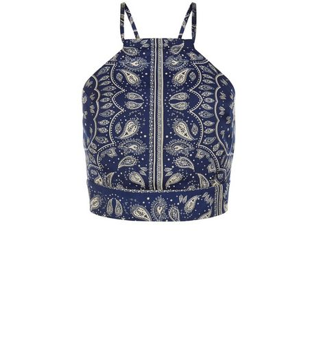 Cameo Rose Blue Paisley Print Crop Top | New Look