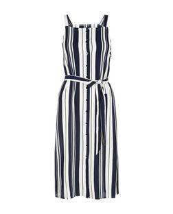 Cameo Rose Blue Stripe Button Front Dress | New Look