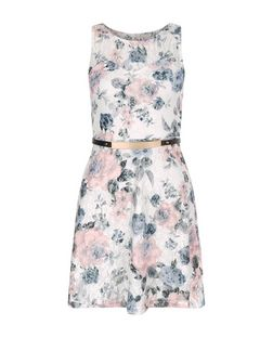 Cameo Rose Pink Floral Print Belted Dress | New Look