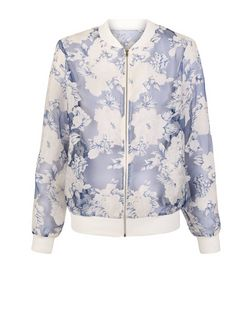 Cameo Rose Floral Print Burnout Bomber Jacket | New Look