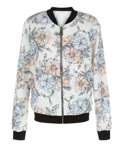 Cameo Rose White Floral Print Contrast Trim Bomber Jacket | New Look