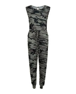 Cameo Rose Green Camo Print Jumpsuit  | New Look