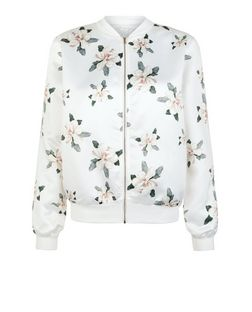Cameo Rose White Lily Print Bomber Jacket | New Look