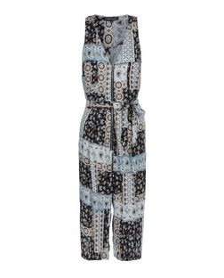 Cameo Rose Black Patchwork Print Culotte Jumpsuit | New Look