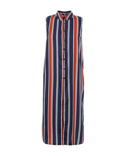 Influence Blue Stripe Longline Sleeveless Shirt  | New Look