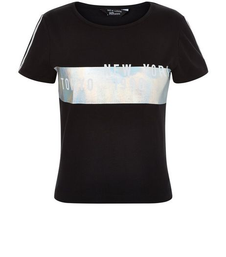Teens Black New York Holographic Panel T-Shirt | New Look