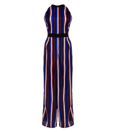 Influence Blue Stripe Wide Leg Jumpsuit | New Look