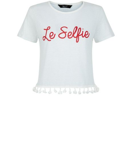 Teens White Le Selfie Tassel Hem T-Shirt | New Look